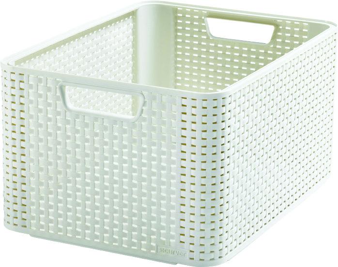 Curver úložný box RATTAN Style2 L - krémový 03616-885