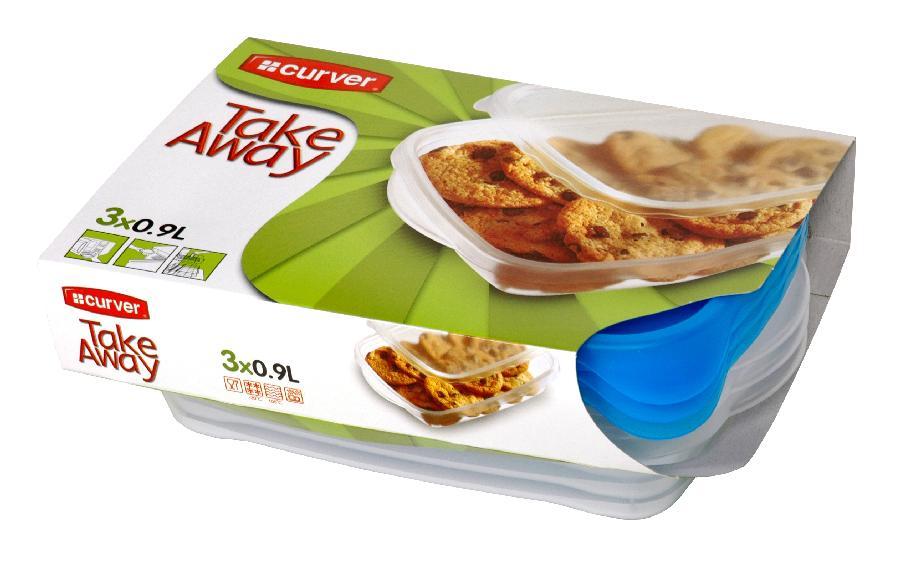 Dózy na potraviny TAKE AWAY 3 ks 0,9 l transparentní