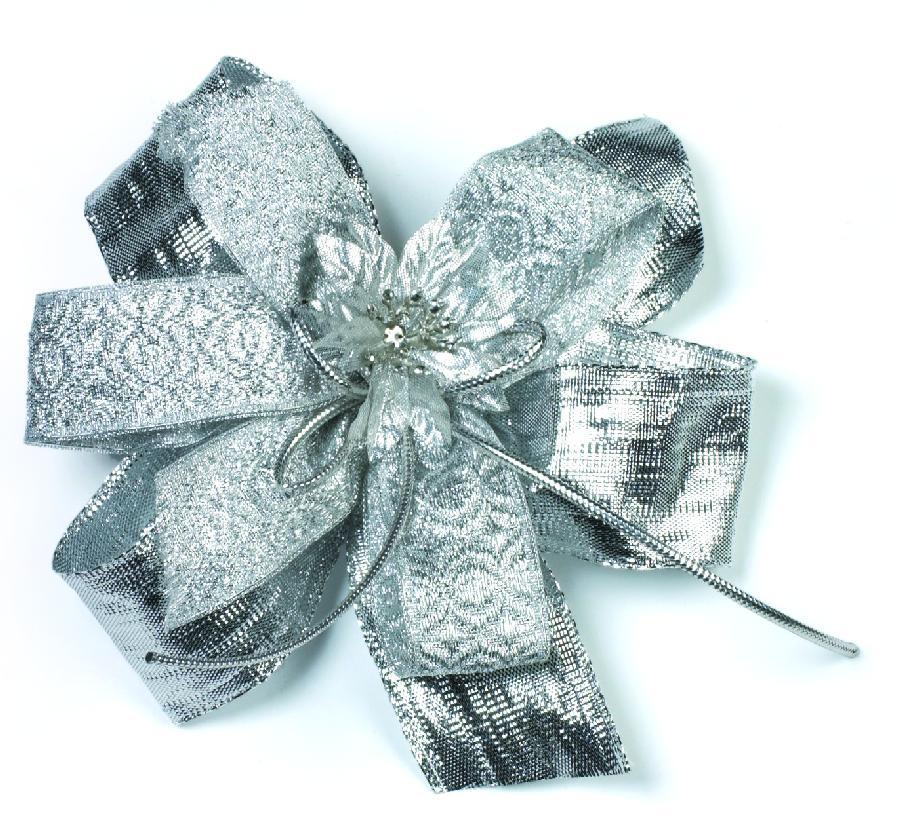 Dárková mašle 12 x 11 x 1,5 cm stříbrná