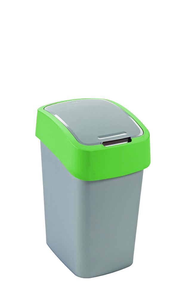 Koš odpadkový Flipbin 10l stříbrná/zelená Curver 02170-P80