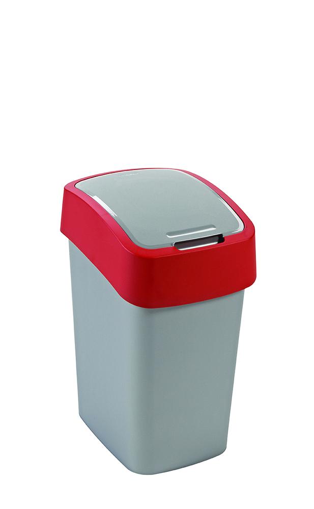 Koš odpadkový Flipbin 50l stříbrná/červená Curver 02172-547