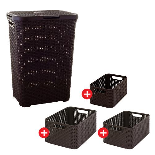 Curver koš na špinavé prádlo RATTAN 60 l + úložný box RATTAN Style2 ve vel. S, M, L