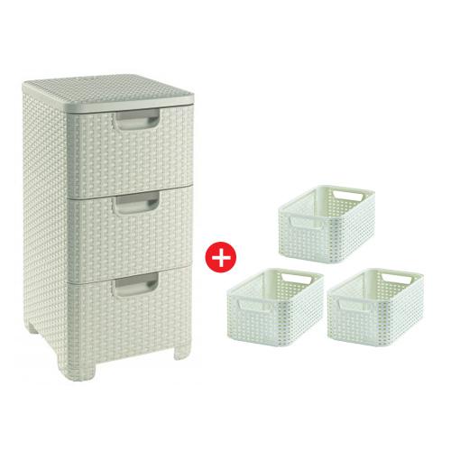 Curver skříňka se zásuvkami 14l RATTAN Style a 3x úložný box RATTAN Style vel. S