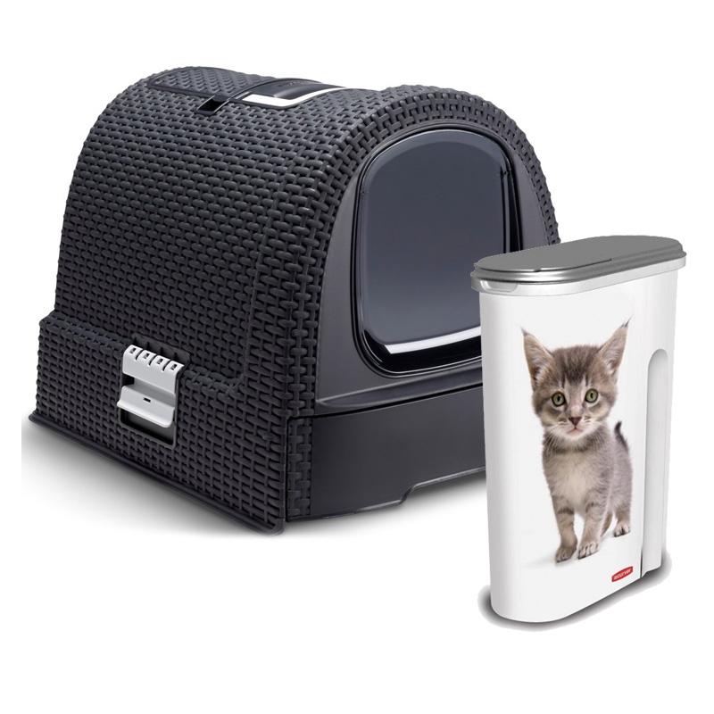 Curver pet sada - toaleta pro kočky RATTAN + kontejner 98252