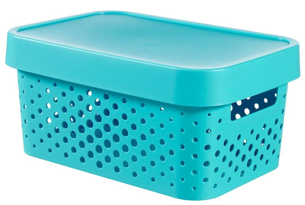 Úložný box INFINITY 4,5l s víkem modrý puntíky