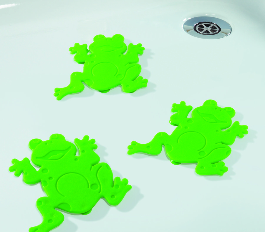 Bezpečnostní dekorace do vany Spirella FROGTIME 5 ks - green