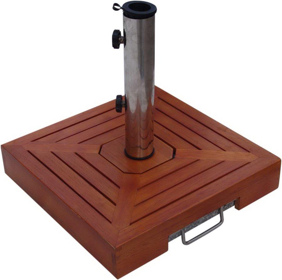 Čtvercový podstavec na slunečník - 30 kg dřevo/granit
